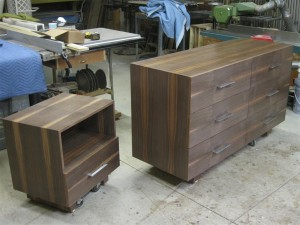 Contemporary walnut dresser and night stand