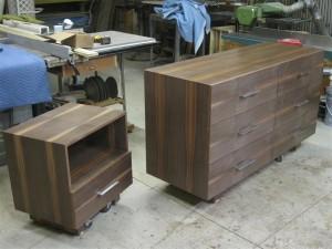 Contemporary walnut dresser and night stand