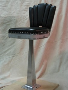 Art Deco bar stool Leather and aluminium