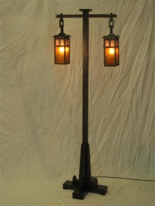 ADK Mission floor lamp w/ silver and amber mica