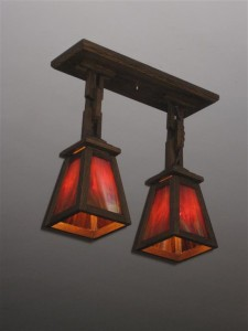 2 shade pendant light w/stained glass