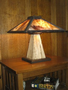 TL8 spalted maple base w/stained glass shade