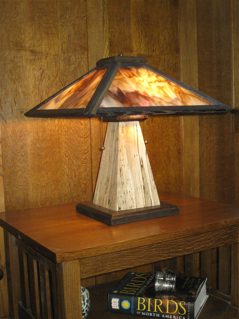 Custom furniture and fabrication adk adirondack craftsman lighting tl8 spalted maple base wstained glass shade aloadofball Gallery